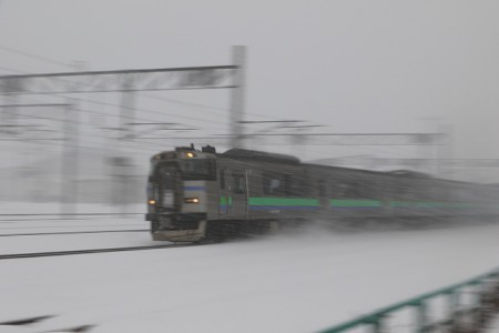 吹雪の流し撮り