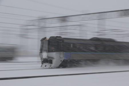 スーパーカムイ-吹雪の中の流し撮り