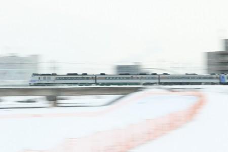 特急オホーツク-豊平川鉄橋