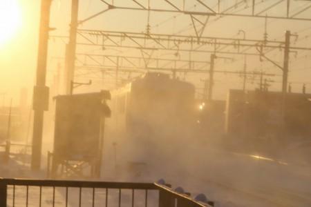 朝日に消える普通電車