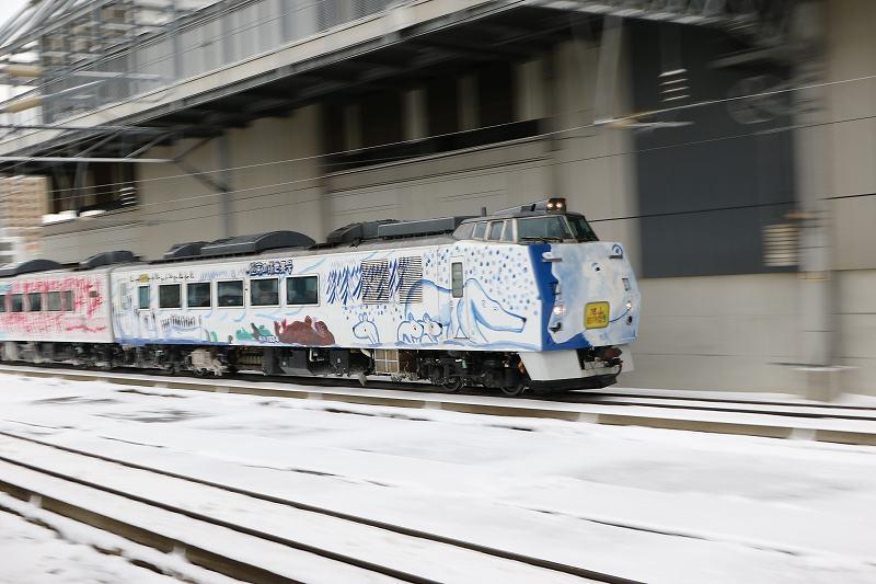 昼の札幌駅-スーパー宗谷2号の代走旭山動物園号を