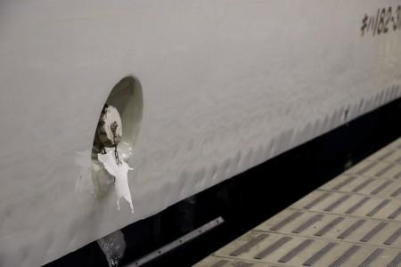 オホーツク-氷がついた燃料キャップ
