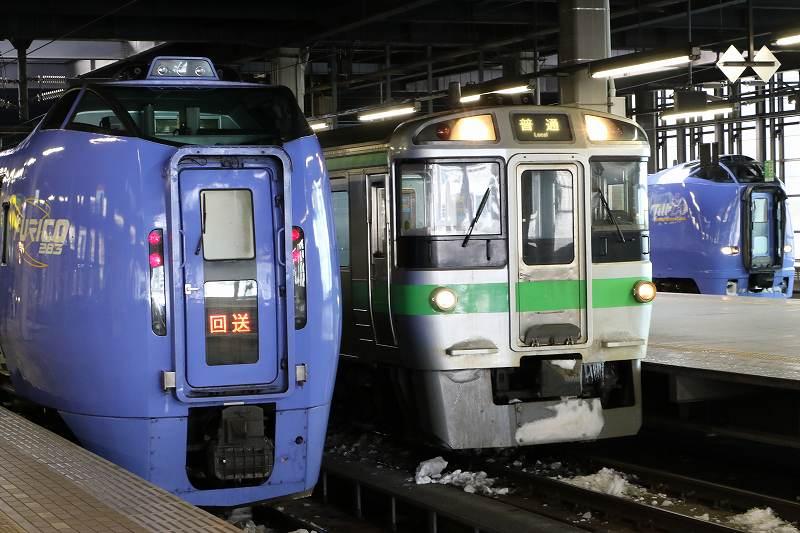 オホーツク2号からスーパーおおぞら到着までの昼の札幌駅