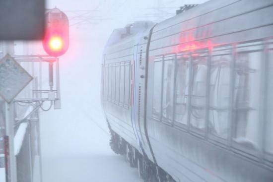 稲積公園駅 スーパーおおぞら-キハ283系 雪 吹雪