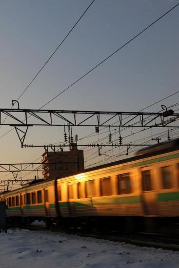 回送電車-月 朝日