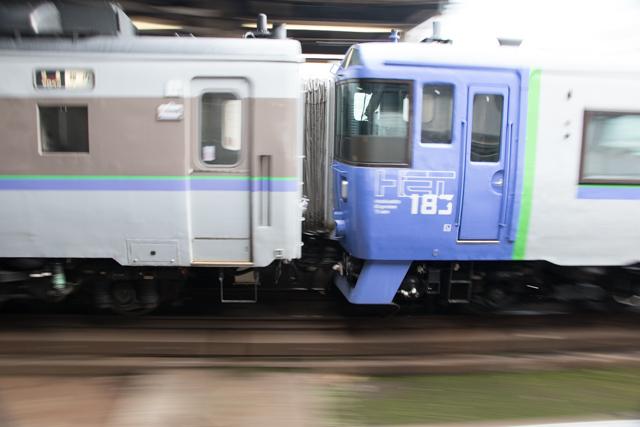 流し撮り 特急列車 札幌駅 頭3つのサロベツ